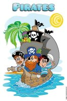 Tin Sign pirates with pirate ship Jolly Roger Parrot...