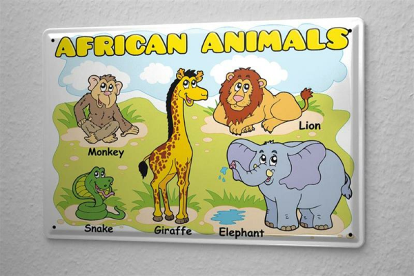 Monkey Tin Sign African animals in English elephant giraffe lion snake comic cartoon satire 20x30 cm