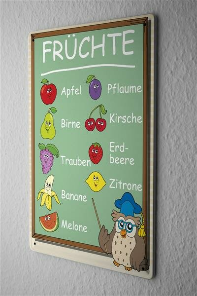 Metal plate with fruits owl apple pear grape cherry lemon strawberry banana melon grape plum comic cartoon satire 20x30 cm