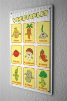Tin Sign vegetables in English onion carrot garlic...