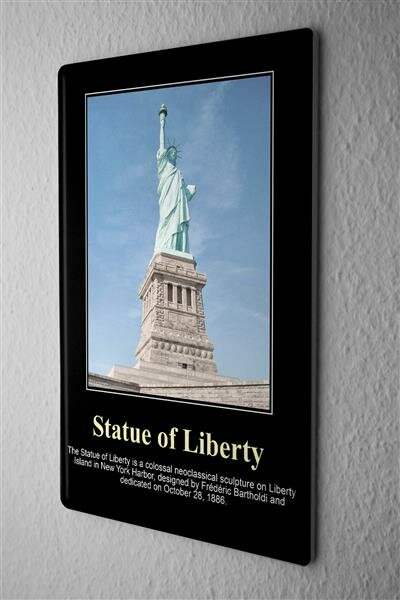 Tin Sign Statue of Liberty in New York Harbor, Bartholdi Liberty Iceland 20x30 cm