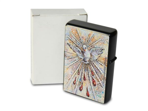 Pocket Windproof Lighter Brushed Oil Refillable Mosaic Peace Dove