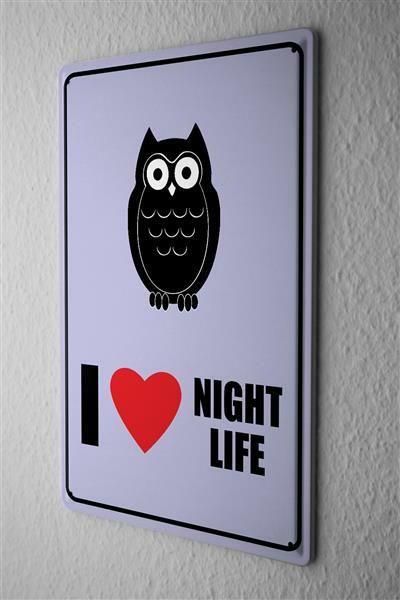 Blechschild Eule mit Text I Love Night Live mit roten Herz comic cartoons Satire 20x30 cm