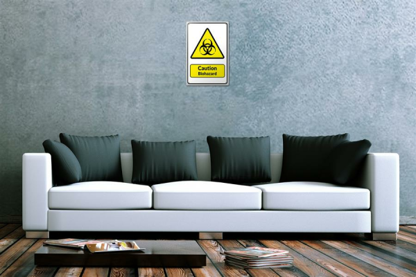 Blechschild  Warnschild Caution Biohazard Symbol in schwarz gelben dreieck comic cartoons Satire 20x30 cm