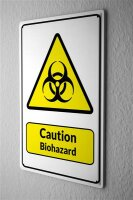 Blechschild  Warnschild Caution Biohazard Symbol in...