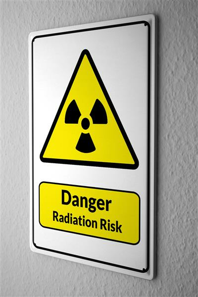 Blechschild  Warnschild Danger Radiation Risk Symbol in schwarz gelben dreieck comic cartoons Satire 20x30 cm