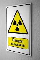Tin Sign Warning Sign Danger Radiation Risk symbol in...