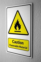 Blechschild  Warnschild Caution Flammable Material Feuer...