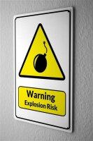 Tin Sign Warning Sign Warning explosion risk bombs symbol...