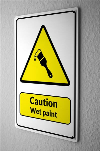 Blechschild  Warnschild Caution Wet Paint Pinsel Symbol in schwarz gelben dreieck comic cartoons Satire 20x30 cm