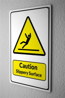 Blechschild  Warnschild Caution Slippery Surface Mensch...