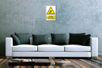 Tin Sign Warning Sign Caution Slippery Surface man symbol...