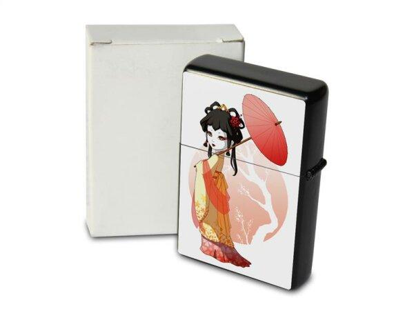 Pocket Windproof Lighter Brushed Oil Refillable Geisha Asia