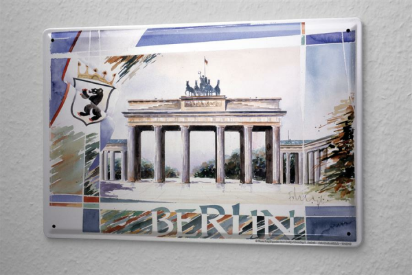 Tin Sign Gallery painter Franz Heigl Picture Collage Berlin Brandenburg Gate crest