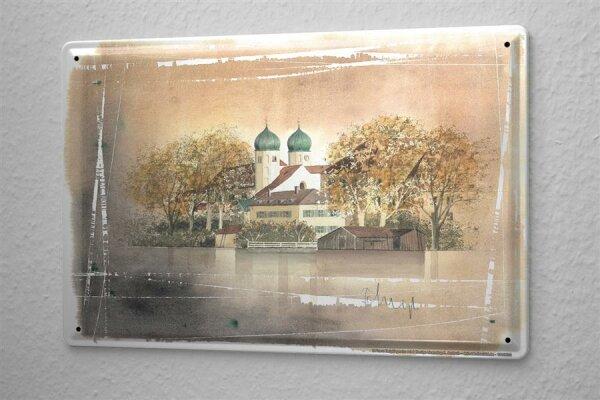 Blechschild Galerie Maler Franz Heigl Bild Dorf Herbst Zwiebelturm Kirche See 20x30 cm