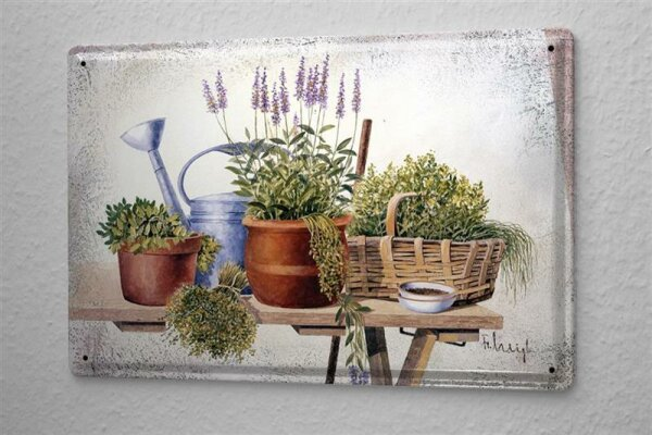 Tin Sign Gallery painter Franz Heigl picture still life vegetable garden table lavender pot