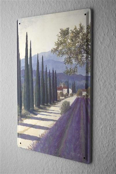 Tin Sign Gallery painter Franz Heigl Picture Tuscany landscape lavender Zypressenallee