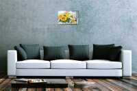 Blechschild Galerie Maler Franz Heigl Bild Stilleben Sonnenblumen wei?e Bank 20x30 cm
