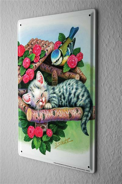 Tin Sign J?rgen Scholz sleeping kittens 20x30 cm birdhouse tit