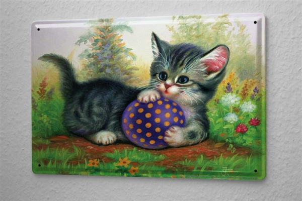 Tin Sign J?rgen Scholz kittens play ball 20x30 cm meadow flowers