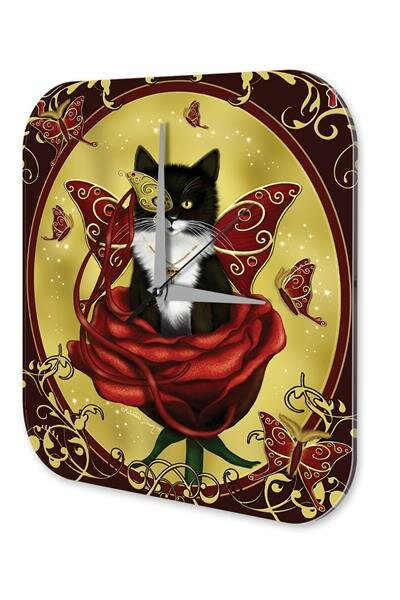 Wall Clock Vintage Gothic Cat Butterfly Key Dream World Vintage