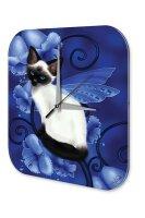 Wall Clock Fantasy Motif Cat wings flowers Decorative...