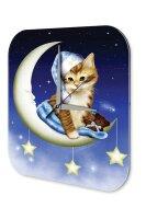 Wall Clock Fantasy Motif Crescent Cat sleepyhead...