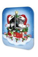 Wall Clock Santa Claus Cat Santa Hat Gift Printed Acryl...