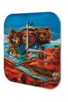 Wall Clock USA Native Indians bear Landscape Printed...