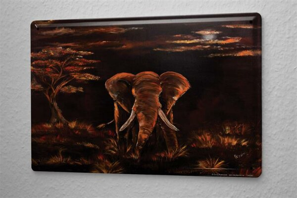 Blechschild Afrika Elefant Krakowski Afrika Steppe Dämmerung