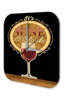 Wall Clock Bar Party Vintage Decoration Red wine glass...