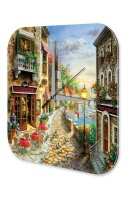 Wall Clock Holiday Travel Agency Painting Old Town on...