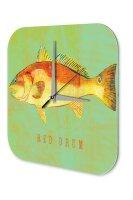 Wall Clock Coastal Marine Decoration Fish red drummer...