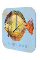 Wall Clock Coastal Marine Decoration Winter flounder fish...
