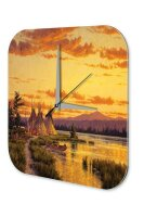 Wall Clock USA Native Tipis in the sunset Printed Acryl...