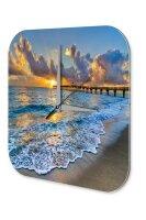 Wall Clock Feng Shui Picture Jetty in Ocean Sun...