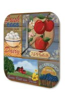 Wall Clock Kitchen Decor Egg apples blueberries Printed...