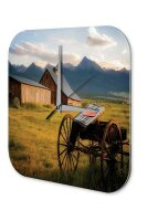 Wall Clock Picture Farm Carriage mountains Harmony...