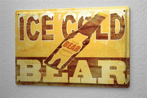 M.A. Allen Retro Tin Sign Poster U.S. Deco Ice Cold Beer Beer Advertising Bear