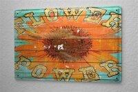 Blechschild M. A. Allen Retro US Deko Flower Power Sonnenblume Frieden Werbung 20x30 cm