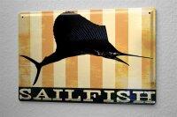 Blechschild M. A. Allen Retro US Deko Sailfish Fächerfisch Küsten Menü Delikatesse 20x30 cm