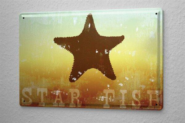 Blechschild M. A. Allen Retro US Deko Seestern Seesternchen Küsten Meeresbewohner 20x30 cm