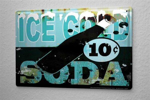Blechschild M. A. Allen Retro US Deko Soda Limonade Softdrink Nostalgie Werbung 20x30 cm