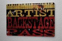 Blechschild M. A. Allen Retro US Deko Musiker Backstage Pass Nostalgie Werbung 20x30 cm
