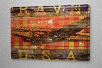 Blechschild M. A. Allen Retro US Deko Flug Rundreise Nostalgie Deko 20x30 cm