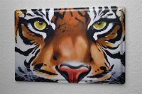 tin sign metal plate Arkadiusz Warminski tiger head eyes...