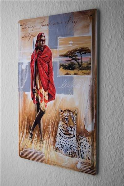 Blechschild Arkadiusz Warminski Bild Massai Mann Leopard Steppe Afrika Baum Speer 20x30 cm