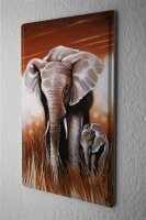 tin sign metal plate Arkadiusz Warminski elephant child Africa steppe trees baby