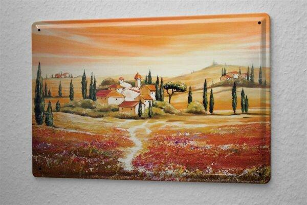 Blechschild Arkadiusz Warminski Toskana Landschaft Landhaus Ortschaft wie gemalt Zypressen Baum 20x30 cm