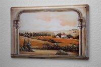 tin sign metal plate Arkadiusz Warminski Tuscany scenery view window arch country house